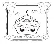 Printable cupcake draw so cute coloring pages