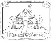 house draw so cute coloring pages