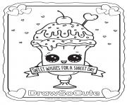 Printable valentine ice cream sundae draw so cute coloring pages
