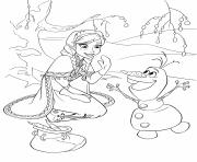 Printable Elsa and Olaf Frozen disney coloring pages