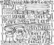 Printable Pledge of Allegiance Melonheadz Illustrating LLC 2015 bw coloring pages