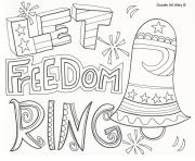 Printable let freedom ring 4th july coloring pages