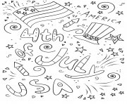 Printable 4th of july doodle coloring pages