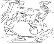 Printable three sharks finding nemo coloring pages