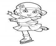 dora ice skating a4 coloring pages