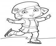 dora ice skating new coloring pages