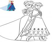 Printable Anna and Elsa beautiful dresses frozen coloring pages