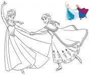 Printable having fun with the sister frozen coloring pages