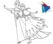Printable sisters elsa and anna having fun frozen christmas coloring pages