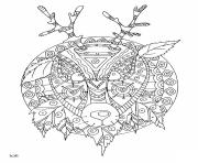 Printable deer with tribal pattern adults coloring pages