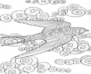 Printable swallow in the sky zentangle adults coloring pages
