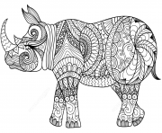 Printable zentangle rhino adults coloring pages