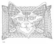 Printable fox with tribal pattern adults coloring pages