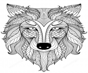 Printable wolf zentangle adults coloring pages