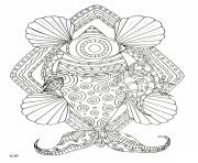 Printable fish with tribal pattern adults coloring pages