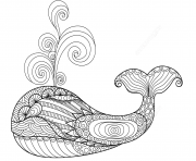 Printable whale zentangle adults coloring pages