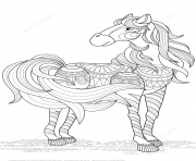 Printable lovely horse zentangle adults coloring pages