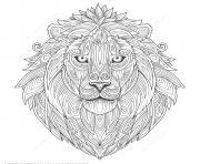 Printable lion ethnic zentangle adults coloring pages