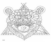 Printable bear with tribal pattern adults coloring pages