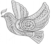 Printable zentangle dove of peace adults coloring pages