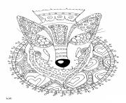Printable wolf with tribal pattern adults coloring pages