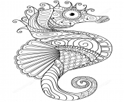 Printable sea horse zentangle adults coloring pages