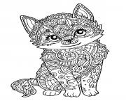 Printable cute cat adult zentangle coloring pages