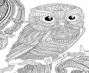 Printable owl adult animal anti stress coloring pages
