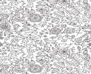 Printable pattern fleurs oiseaux animal adult coloring pages