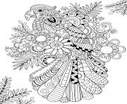 Printable zentangle parrot adult coloring pages