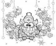 Printable zentangle christmas owl by Irina Yazeva coloring pages