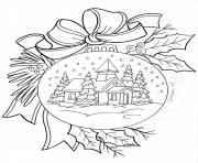 Printable christmas house snow adult coloring pages