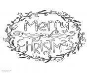 merry christmas wreath adult coloring pages