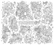 Printable adult thanksgiving doodle 2 by Olga Kostenko coloring pages