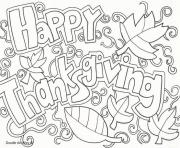 Printable happy thanksgiving adult doodle art coloring pages