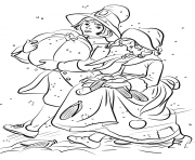 Printable pilgrim boy and girl carrying pumpkin and corns thanksgiving coloring pages
