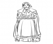 Printable pilgrim woman thanksgiving coloring pages