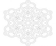 Printable Snowflake Hearts Mandala coloring pages