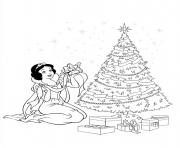Printable Christmas Disney princesses Tree Gifts coloring pages