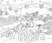 santa claus with presents is entering the house via the chimney christmas coloring pages