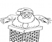 santa stuck in the chimney christmas coloring pages