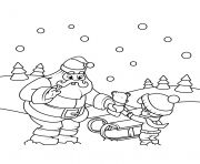 santa gives a gift to a boy christmas coloring pages