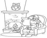 Printable santa checking his list christmas coloring pages