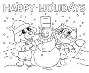 Printable Christmas Snowman Happy Holidays coloring pages