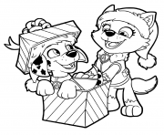 Printable PAW Patrol Christmas Gifts coloring pages