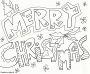 Printable merry christmas doodle coloring pages