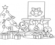 Printable kids near the fireplace and christmas tree coloring pages