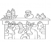 Printable christmas fireplace coloring pages