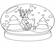Printable christmas snow globe with reindeer coloring pages