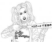 Harley with bat Suicide Squad coloring pages